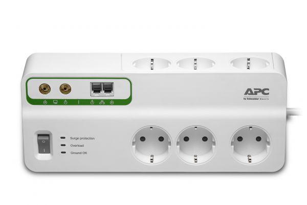 APC Steckdosenleiste 6fach + Telefon, & Coaxschutz Essential Surgearrest Überspannungsschutz schwarz