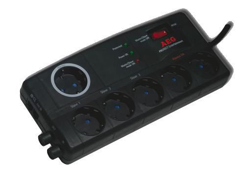 AEG Steckdosenleiste 6fach Protect Entertainment Überspannungsschutz 6fach Master-Slave 6000007745