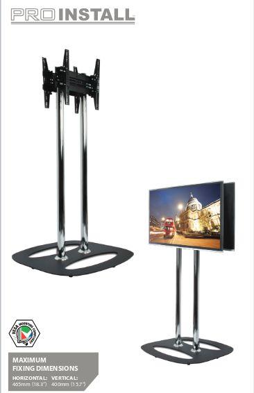 B-TECH Standfuß für Dual-Diplays Rücken an Rücken (VESA 600 x 400) - 1.5m Ø60mm Poles