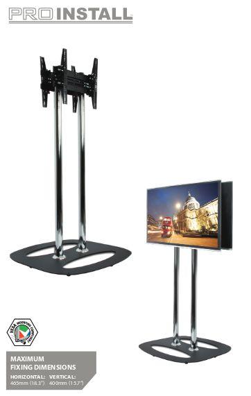 B-TECH Standfuß für Dual-Displays Rücken an Rücken (VESA 600 x 400) - 2m Ø60mm Poles